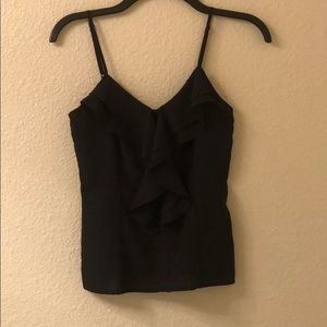 Black silky tank with full zip back
